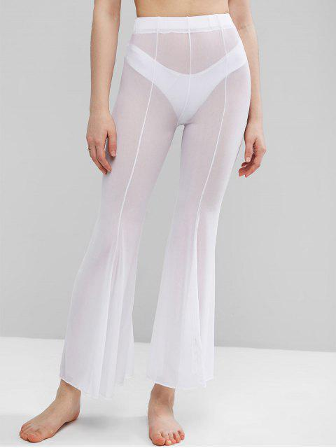 chic Sheer Mesh Flare Bottom Cover-up Pants - WHITE S Mobile
