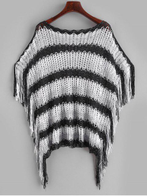 trendy Slash Neck Striped Fringed Kaftan - MULTI-A ONE SIZE Mobile