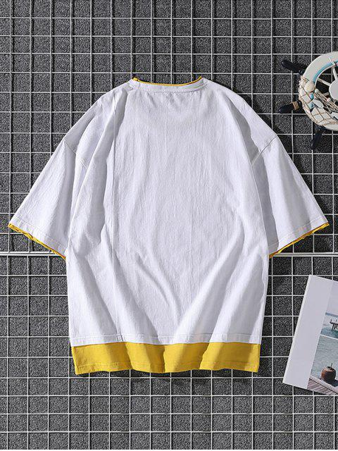 lady Great War Patchwork Colorblock T-shirt - WHITE XS Mobile
