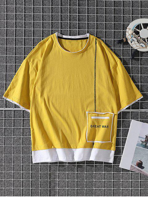 shops Great War Patchwork Colorblock T-shirt - YELLOW XS Mobile