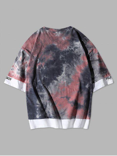Maglietta con Ricamo Tinta a Nodi a Blocchi di Colori - Rosa Abbagliante M Mobile