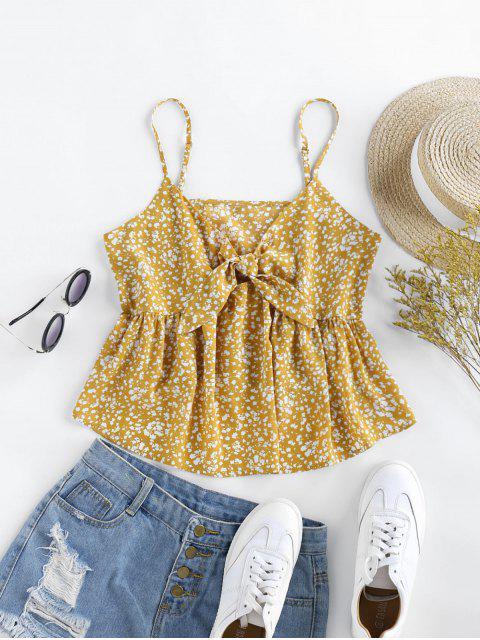 ZAFUL Camisa de Nó Frontal com Babados - Amarelo do Sol S Mobile
