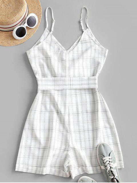 womens ZAFUL Plaid Loop Button Rolled Hem Belted Romper - WHITE S Mobile