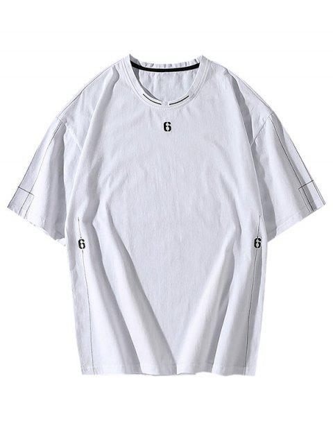 Camiseta Básica Manga Corta y Bordada - Blanco XS Mobile