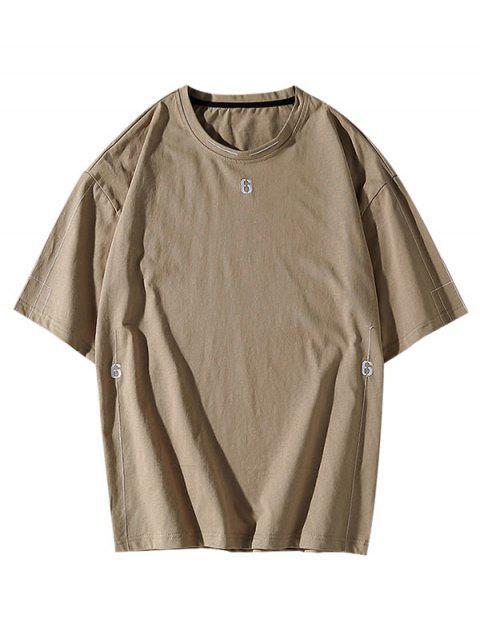 Six Embroidery Short Sleeve Basic T-shirt - كاكي L Mobile
