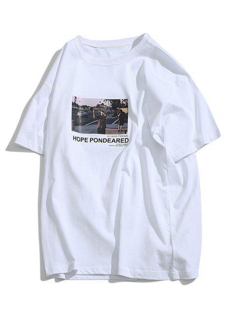 T-Shirt con Grafica di Lettere - Bianca S Mobile