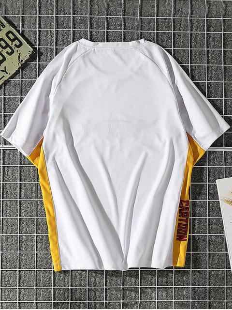 Camiseta de Carta de Impressão de Painel de Bloco de Cores Manga Raglan - Branco S Mobile