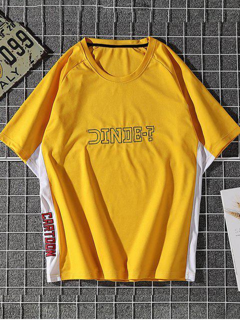 Camiseta de Carta de Impressão de Painel de Bloco de Cores Manga Raglan - Amarelo L Mobile