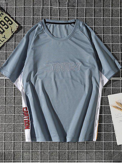 Camiseta de Carta de Impressão de Painel de Bloco de Cores Manga Raglan - Cinza Azulado L Mobile