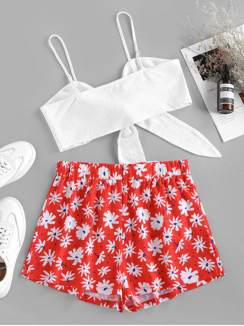 womens ZAFUL Tied Flower Print Belted Shorts Set - RED S Mobile