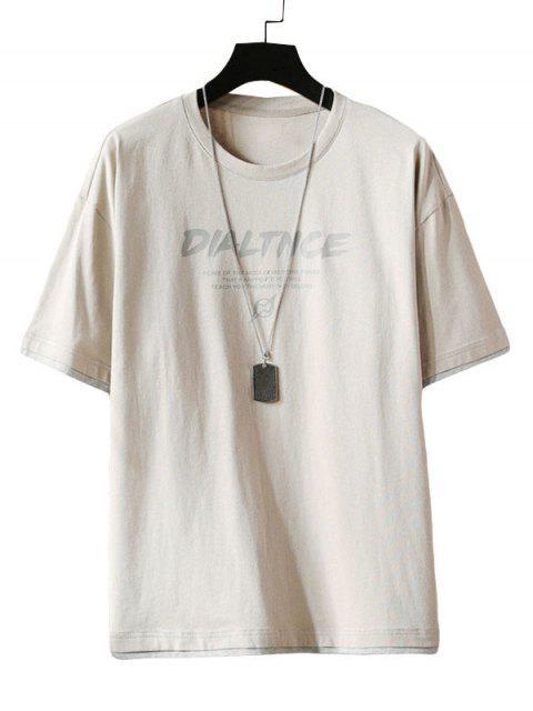 T-Shirt con Maniche Corte e Stampa a Lettera - Grigio Chiaro 2XL Mobile