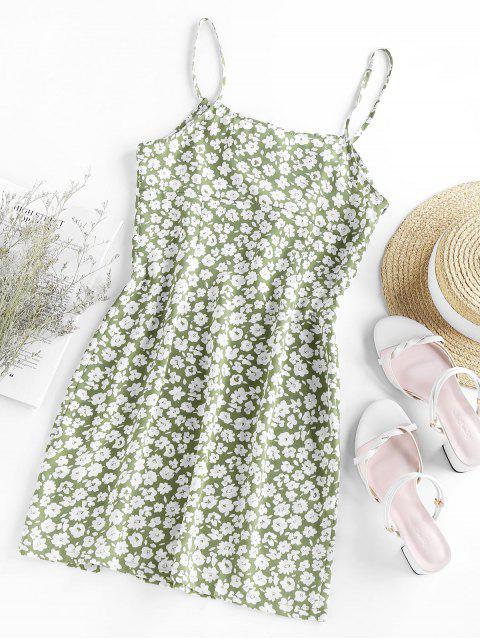 trendy ZAFUL Ditsy Print Slit Mini Cami Dress - LIGHT GREEN M Mobile
