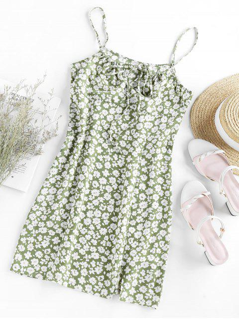 fancy ZAFUL Ditsy Print Slit Mini Cami Dress - LIGHT GREEN S Mobile