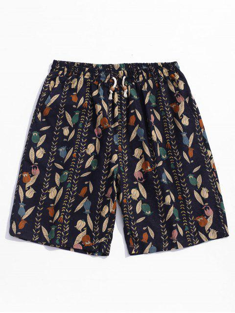 buy Drawstring Leaves Print Casual Shorts - BLACK S Mobile