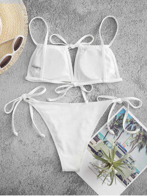ZAFUL Gerippter Schnur Bikini Badebekleidung - Weiß M Mobile