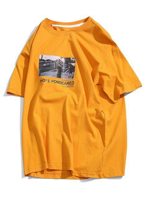 Camiseta Básica con Estampado de Letras - Amarillo M Mobile