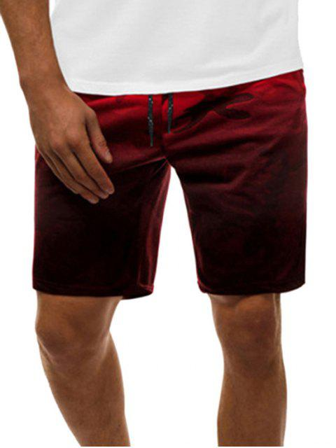 online Camouflage Print Gradient Casual Drawstring Shorts - RED 2XL Mobile