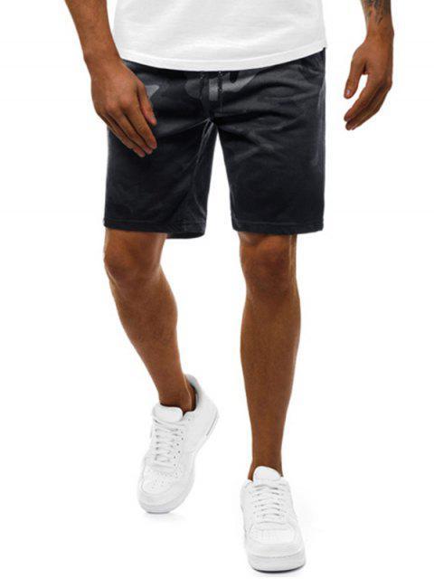 women Camouflage Print Gradient Casual Drawstring Shorts - BLACK 2XL Mobile