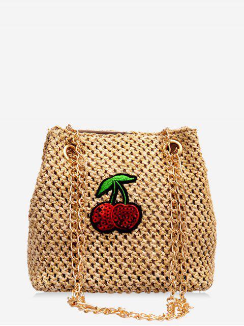Cereja de Bolsa de Cadeia de Palha com Desenho de Palha - Camelo Marrom  Mobile