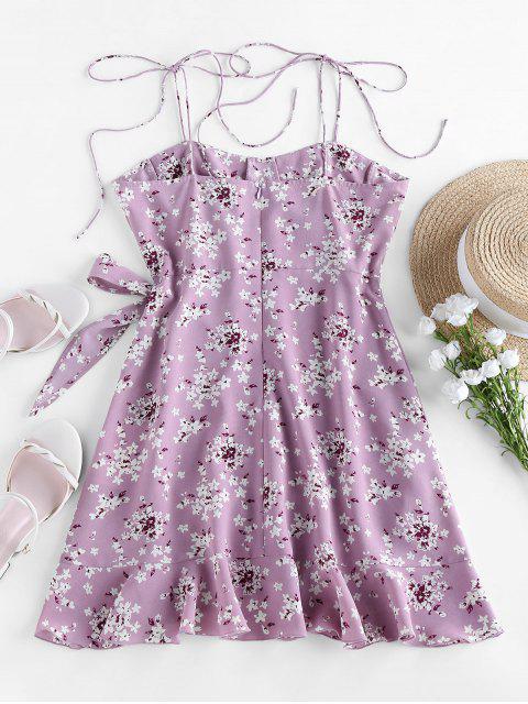 latest Tiny Flower Belted Ruffled Hem Mini Cami Dress - PURPLE XL Mobile