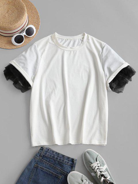 T-shirt Tunique en Dentelle Insérée - Blanc XL Mobile