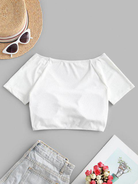 ZAFUL Ribbed Cinched Short Sleeve Swim Top - أبيض S Mobile