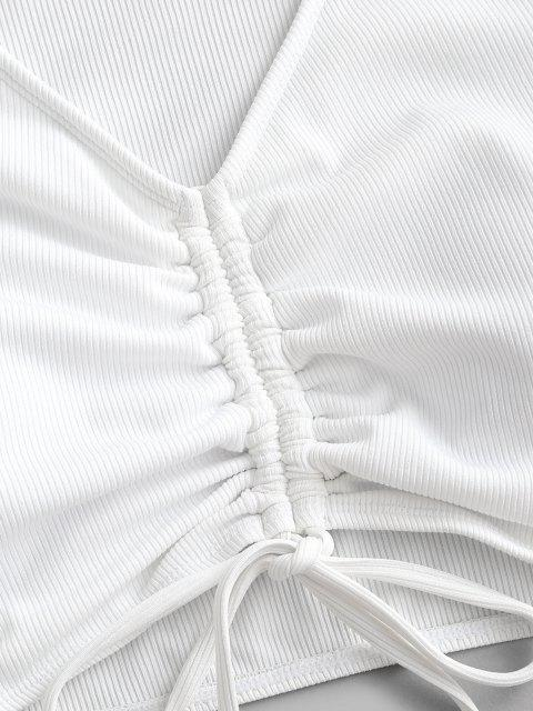 lady ZAFUL Ribbed Cinched Short Sleeve Swim Top - WHITE S Mobile