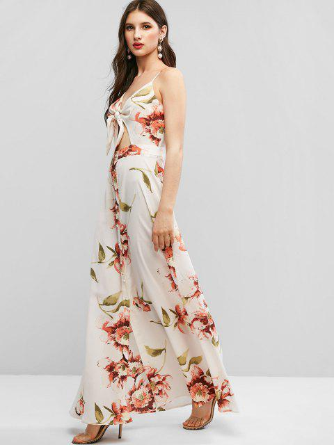 ZAFUL Tie Front Button Up Floral Maxi Dress - الأبيض الدافئ M Mobile