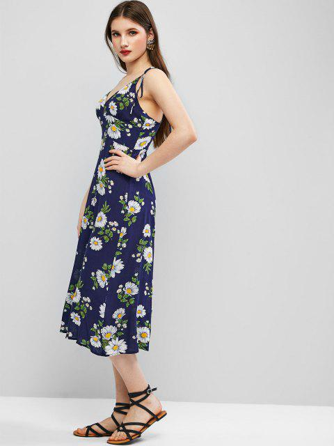 outfits ZAFUL Cami Tie Shoulder Floral Midi Dress - DARK SLATE BLUE M Mobile