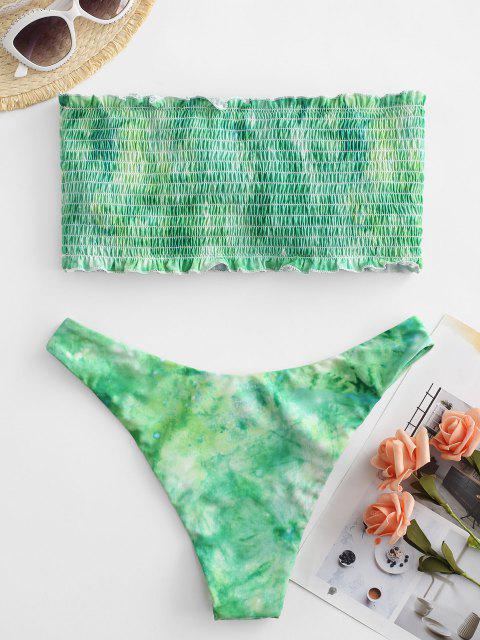 trendy ZAFUL Tie Dye Frilled Smocked Bikini Swimsuit - MULTI-C S Mobile