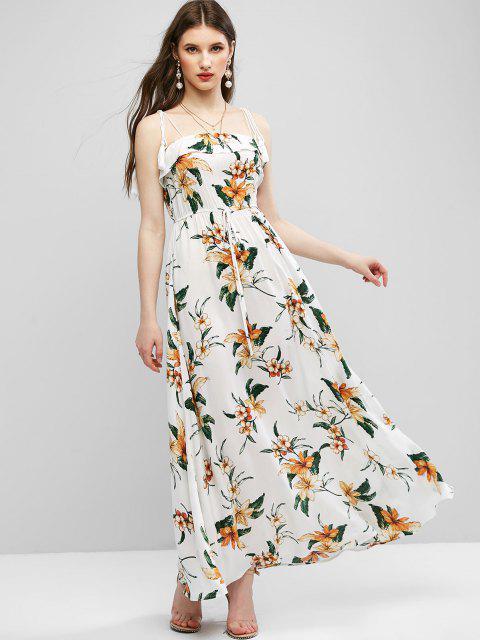buy ZAFUL Tie Shoulder Floral Tassels Maxi Dress - MILK WHITE S Mobile
