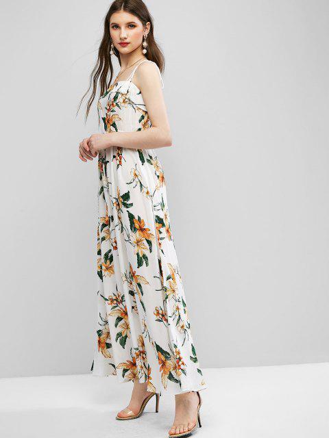 ZAFUL Gebundenes Schulter Blumen Quasten Maxi Kleid - Milchweiß L Mobile