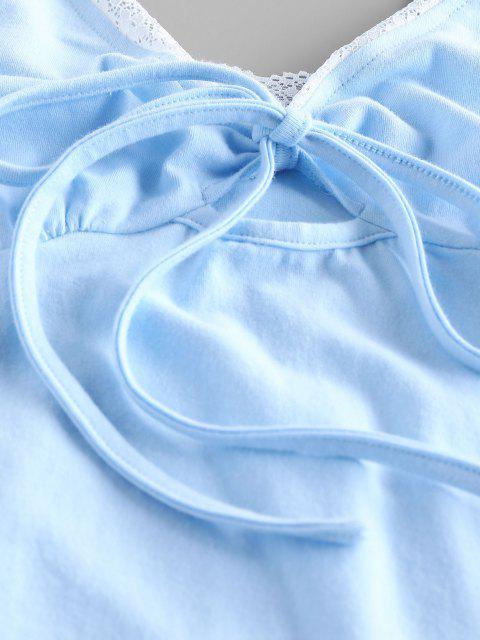 ZAFUL Body Noué en Avant en Dentelle - Bleu Léger  M Mobile