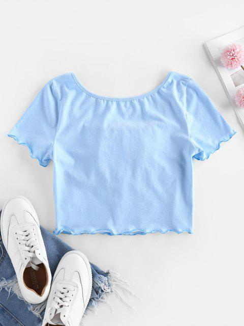 sale ZAFUL Ruched Lettuce Trim Cropped Tee - LIGHT BLUE S Mobile