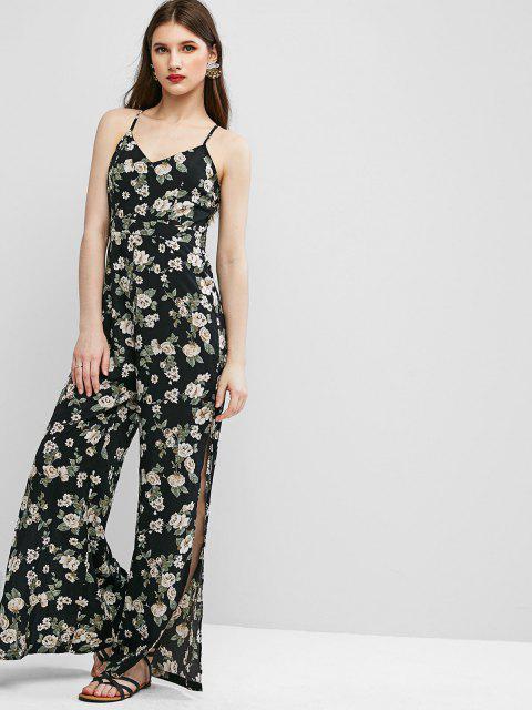 hot ZAFUL Cami High Slit Floral Criss Cross Jumpsuit - BLACK M Mobile