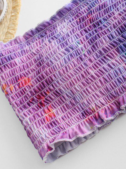 lady ZAFUL Tie Dye Frilled Smocked Bikini Swimsuit - MULTI-D M Mobile