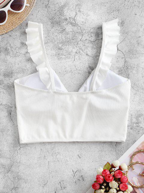 ZAFUL Ribbed Ruffle Tied Bikini Top - أبيض S Mobile