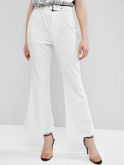 ZAFUL Pantalones Bota Rayas Con Cinturón Y Bolsillo - Blanco L