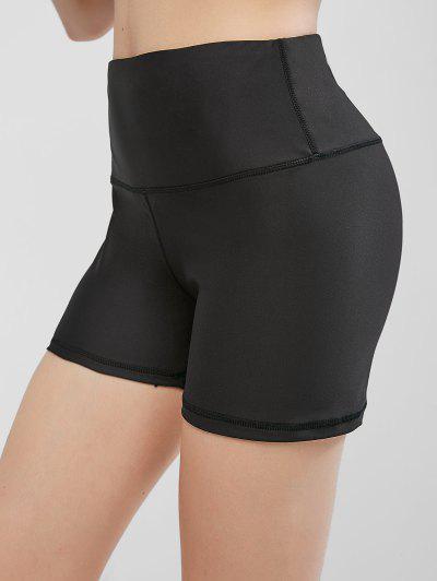 High Waisted Stitching Hidden Pocket Biker Shorts - Black S