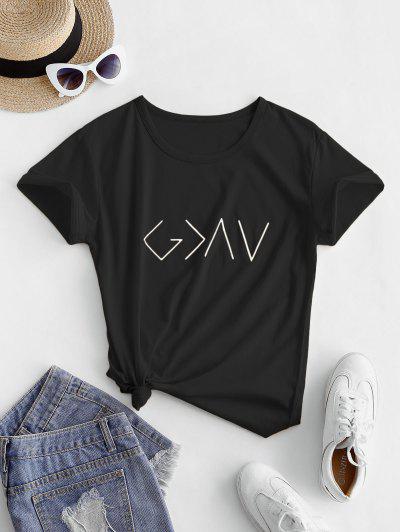 T-shirt Graphique En Coton à Manches Courtes  - Noir M