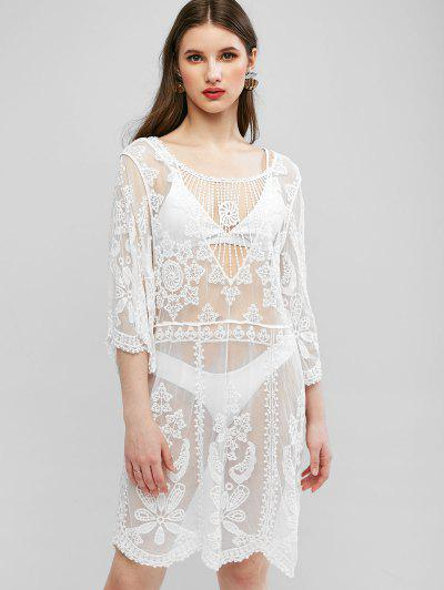 Lace Crochet See Thru Cover Up Dress - White