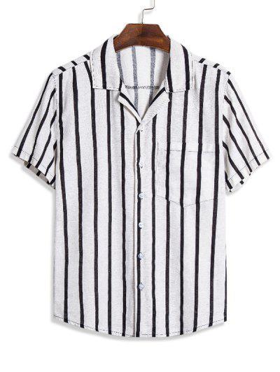 Vertical Striped Pocket Button Up Linen Shirt - Multi L