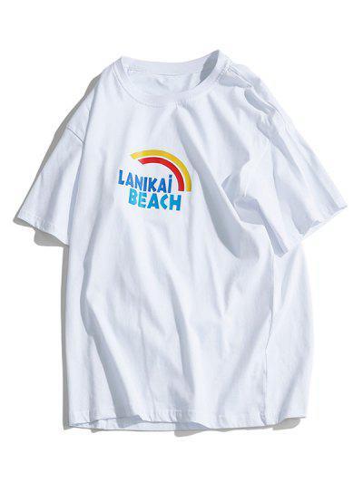 Rainbow Print Short Sleeve Graphic T-shirt - White 3xl