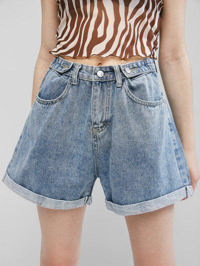 Cuffed Hem Buttoned Tabs Denim Shorts - Jeans Blue M