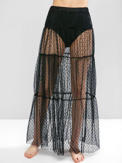 Swiss Dot Sheer Mesh Tiered Skirt - Black L