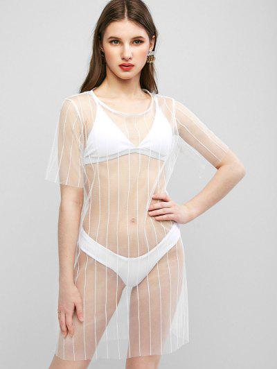 See Thru Mesh Cover-up Dress - White L
