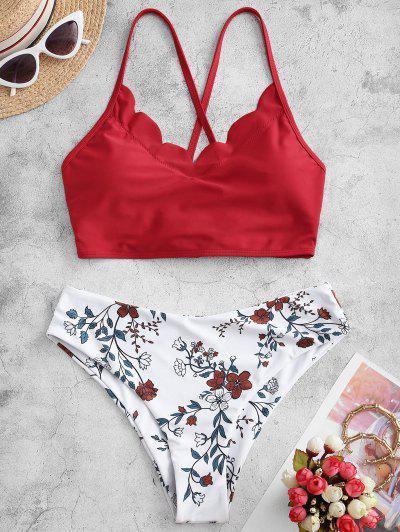 ZAFUL Flower Lace Up Scalloped Tankini Swimwear - Multi-c M