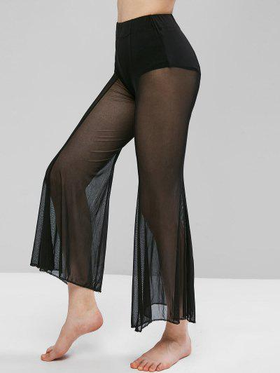 Sheer Mesh Flare Bottom Cover-up Pants - Black M