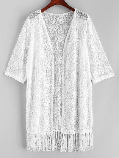 Floral Lace Fringed Kimono - White