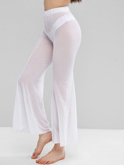 Pantalon Couverture Evasé En Maille Transparente - Blanc S